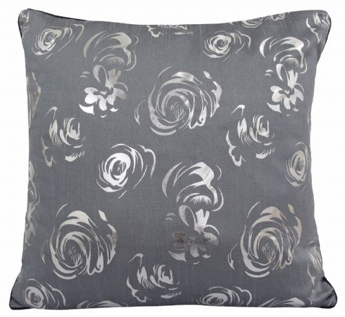 STUNNING MATALLIC FLORAL FAUX SILK FILLED CUSHION GREY BLACK COLOUR